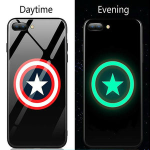 Superhero Luminous Tempered Glass Case For iPhone