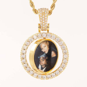 18k GP Two Sided Picture  Pendant S&D - Simply IcedOut