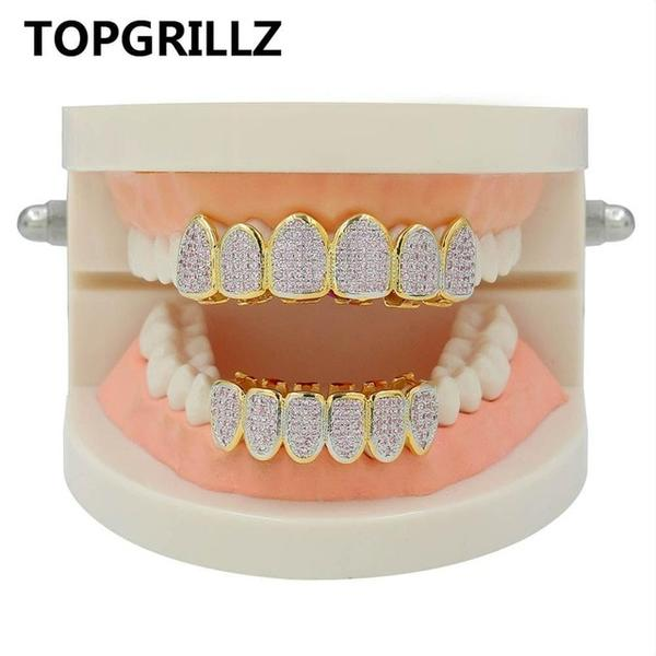 18k GP Micro Pave Cubic Zircon Top & Bottom Teeth Grillz JSN - Simply IcedOut
