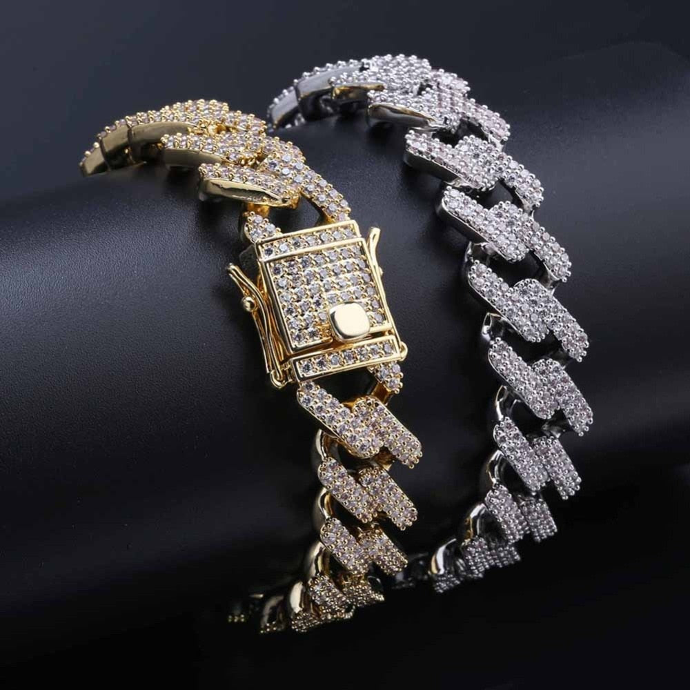18k GP Iced Out Hip-hop's 14mm Dia-Cuban Link Collections Bracelets JSN - Simply IcedOut