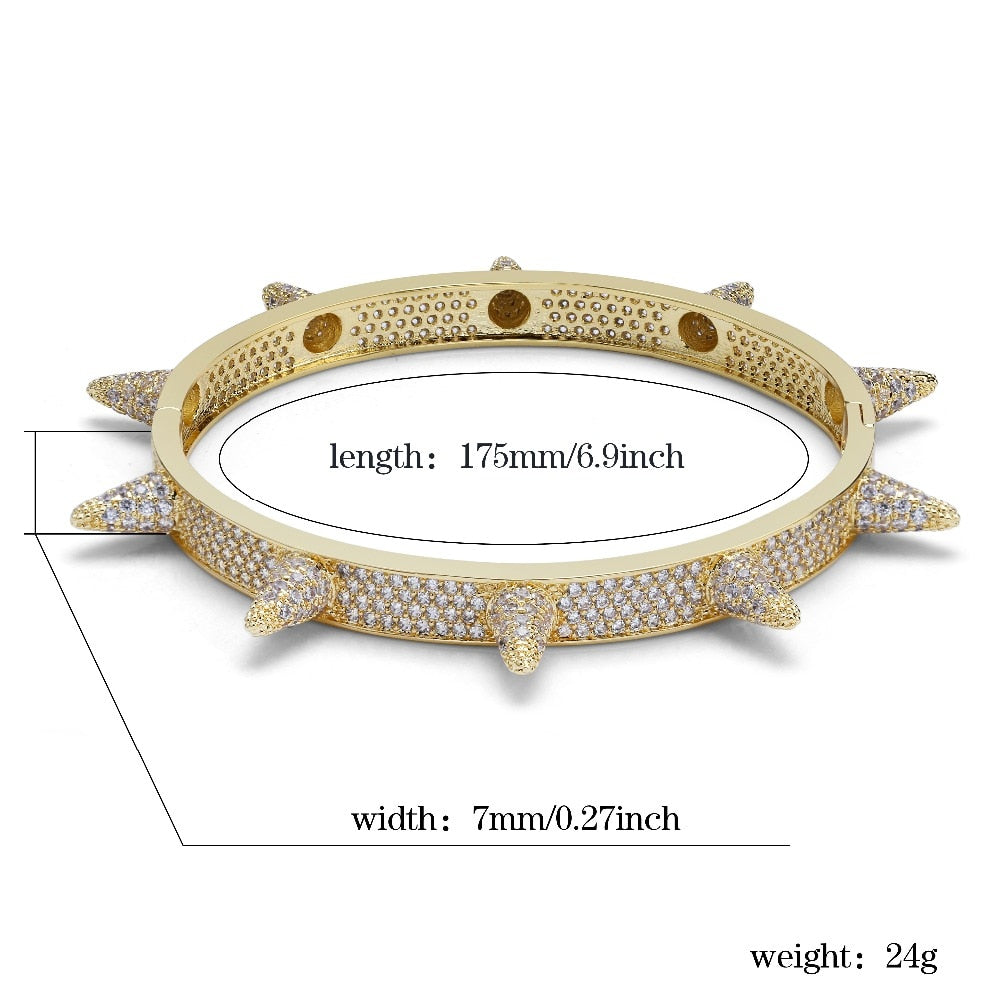 18k GP Iced Out Spiky Bracelet JSN ( For Men & Women) - Simply IcedOut