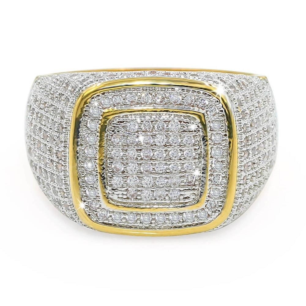 18k GP  Iced Out Cubic Zirconia Ring JSN (BEST SELLER) - Simply IcedOut