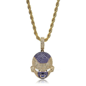 18k GP Iced Out Cubic Dragon Ball  Freeza Necklace JSN (TRENDY) - Simply IcedOut