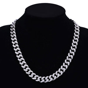 18k GP Iced Out 14mm Cuban Link Chain Necklaces JSN - Simply IcedOut