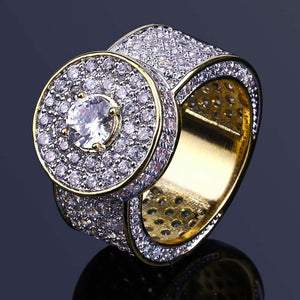 18k GP Iced Out CZ Stone Studded Valkyrie Round Ring V2 JSN - Simply IcedOut