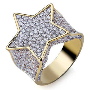 18k GP CZ Stone Studded Star Ring JSN - Simply IcedOut