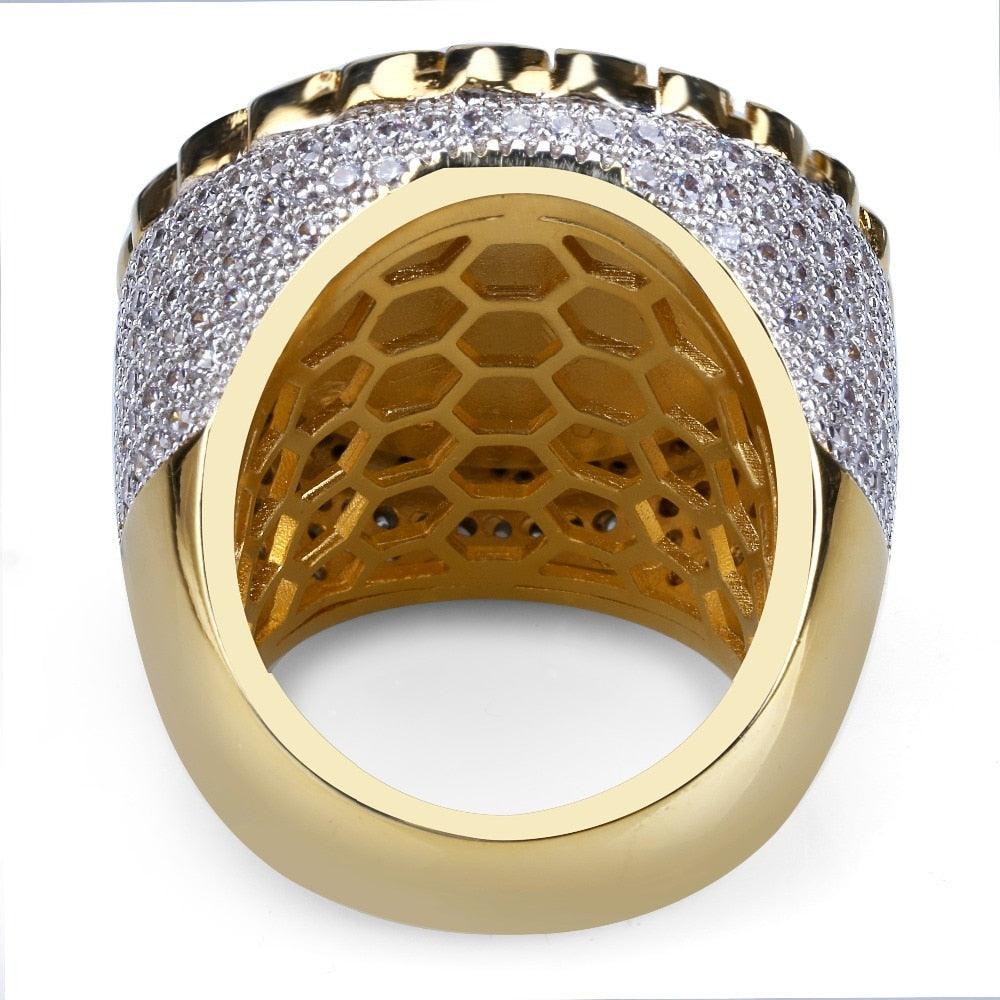 18k GP Iced Out Ruler Of The World Jesus Ring JSN - Simply IcedOut
