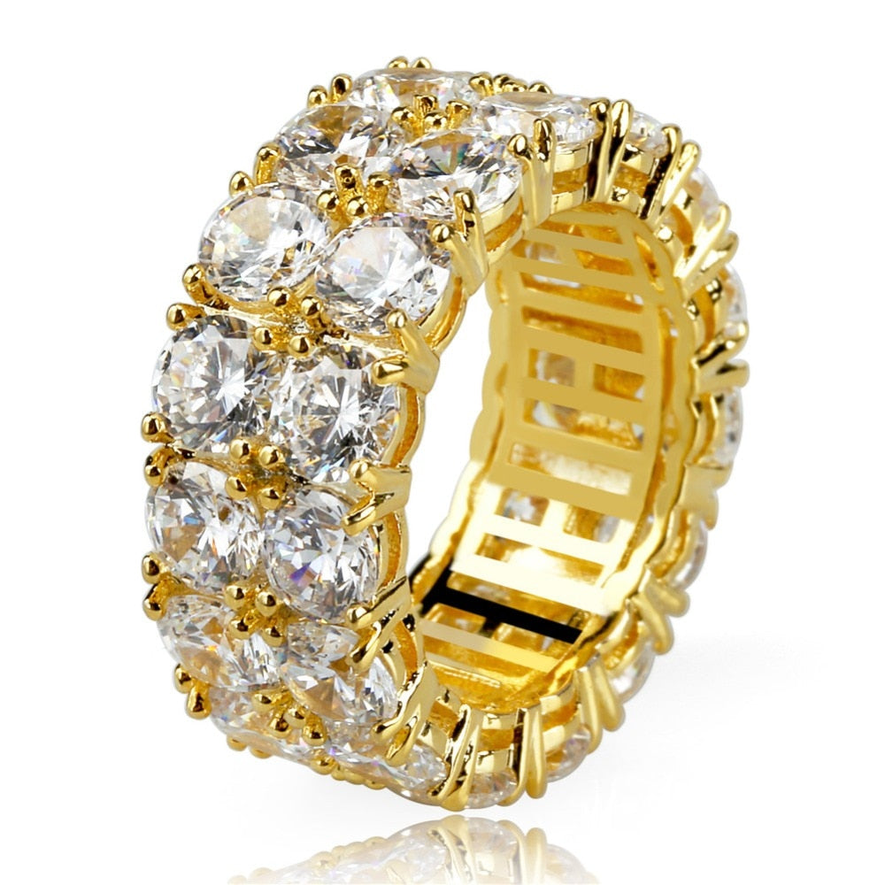 18k Iced Out Micro Pave CZ Stone 2 Row Ring JSN (For Men & Women) - Simply IcedOut