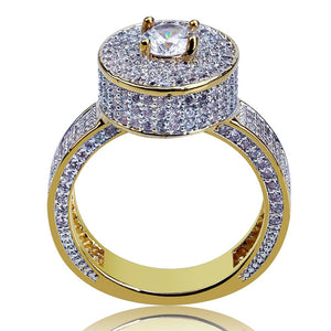 18k GP CZ Stone Studded Valkyrie Round Ring JSN - Simply IcedOut