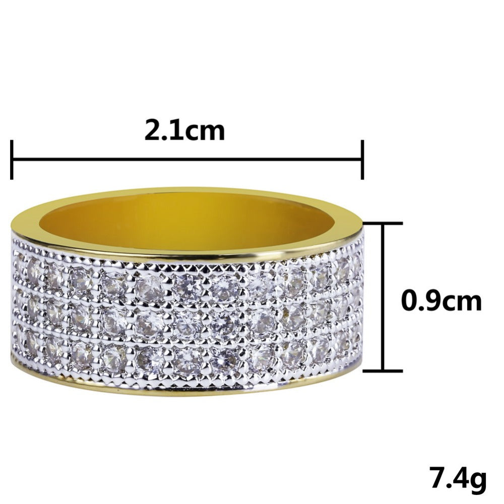 18k GP CZ Studded Stone  9MM Round Ring JSN - Simply IcedOut