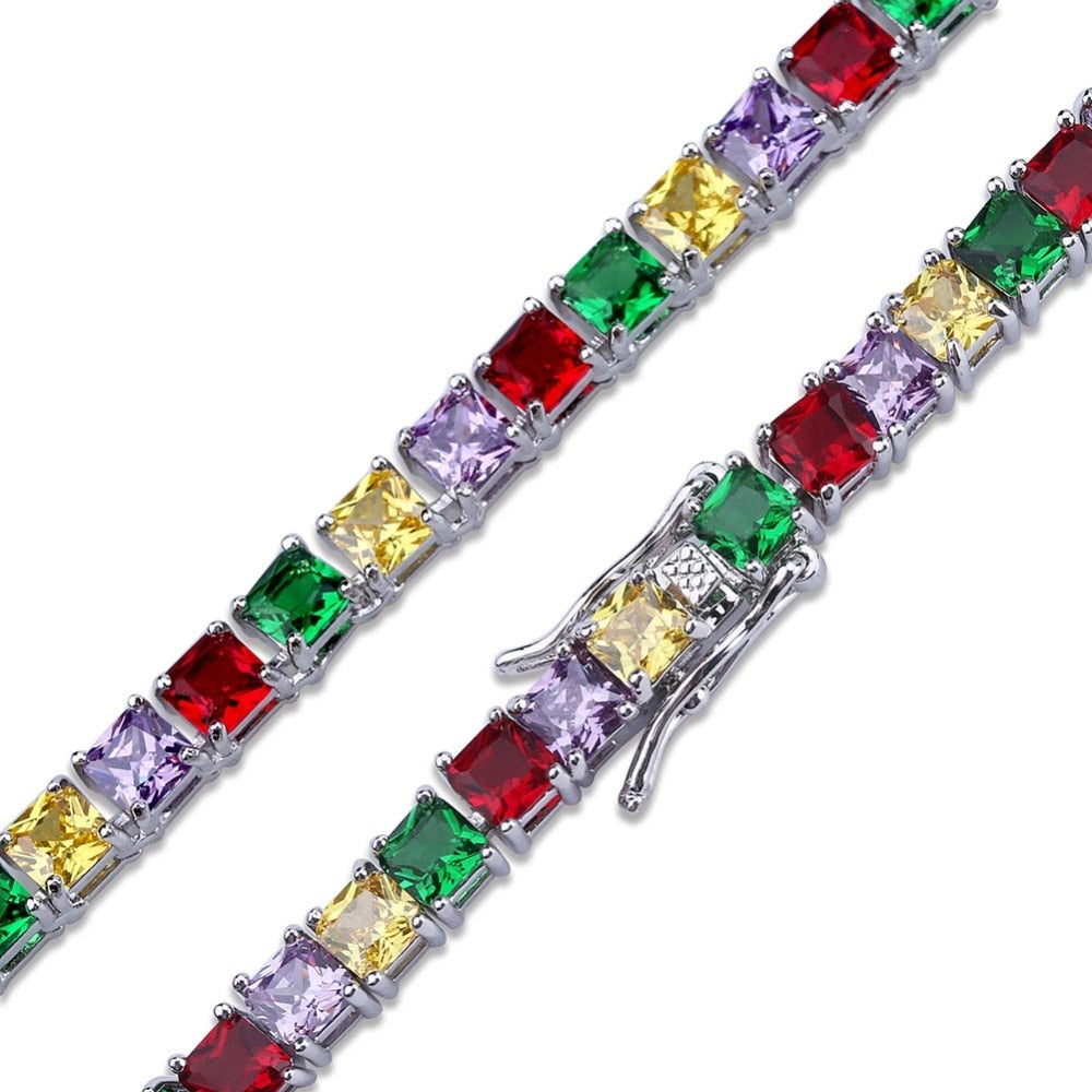 18k GP Micro Paved Rainbow  Clemente Tennis Bracelet JSN - Simply IcedOut