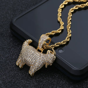 "18k GP Iced Out ""My Goat"" Necklace Charms JSN (For Men & Women) - Simply IcedOut"