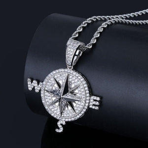 18k GP Iced Out Micropaved Compass Necklace JSN - Simply IcedOut