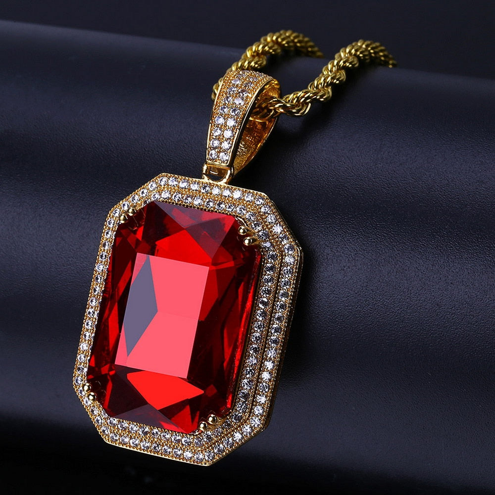 18k GP Burning Ruby Pendant JSN - Simply IcedOut