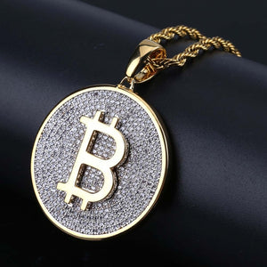 18k GP Iced Out Round Micro Pave Big Bitcoin Pendant JSN - Simply IcedOut