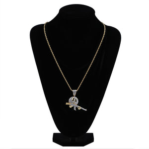 18k GP CZ Stone Studded Gun For Hire Necklaces JSN - Simply IcedOut