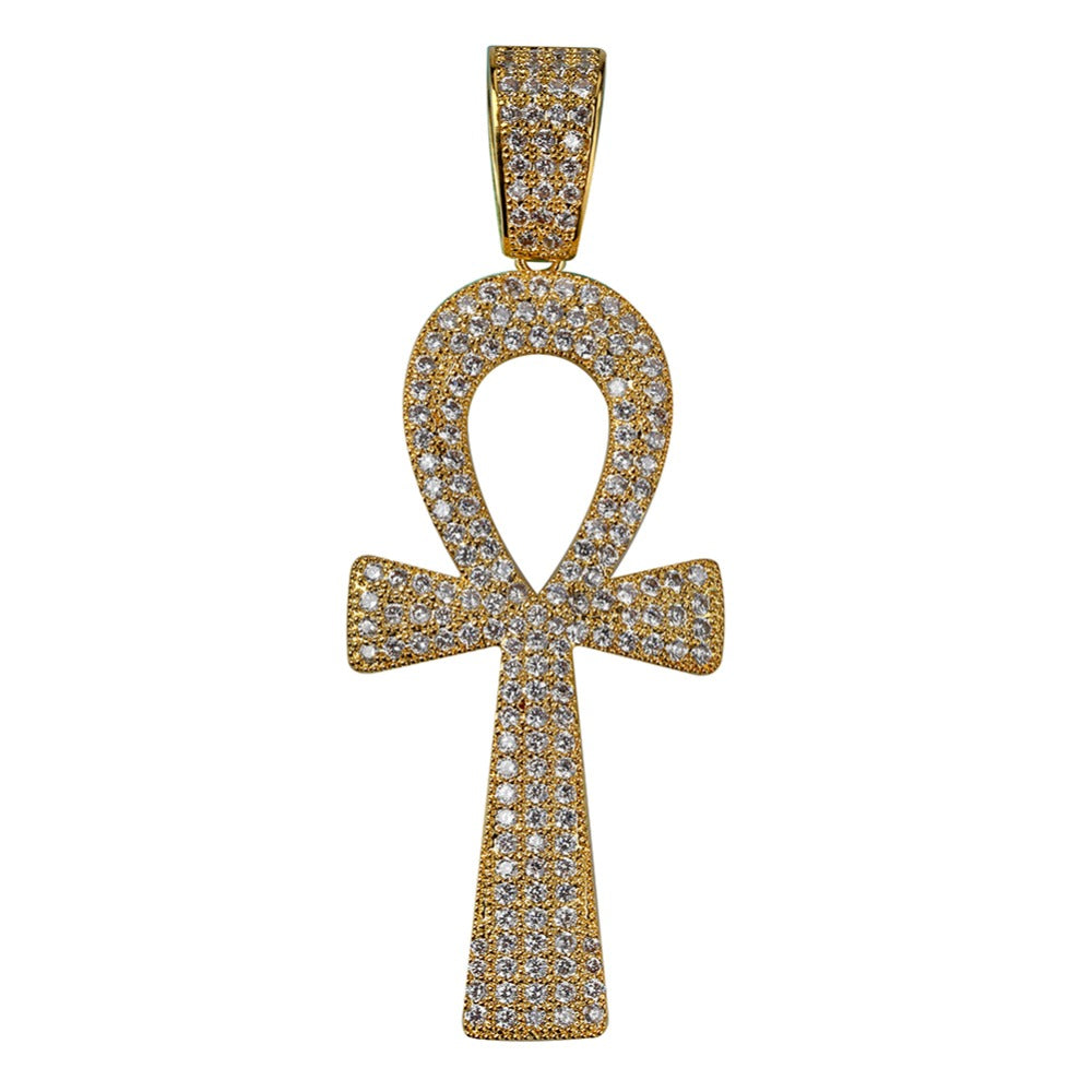 18k GP Iced Out Divine Ankh Cross JSN - Simply IcedOut