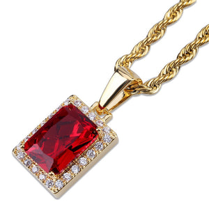18k GP Burning Ruby Esperanza Square Necklace JSN - Simply IcedOut