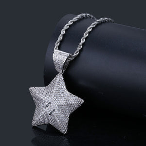 18k GP Iced Out Mario Star Inspired Necklace JSN - Simply IcedOut