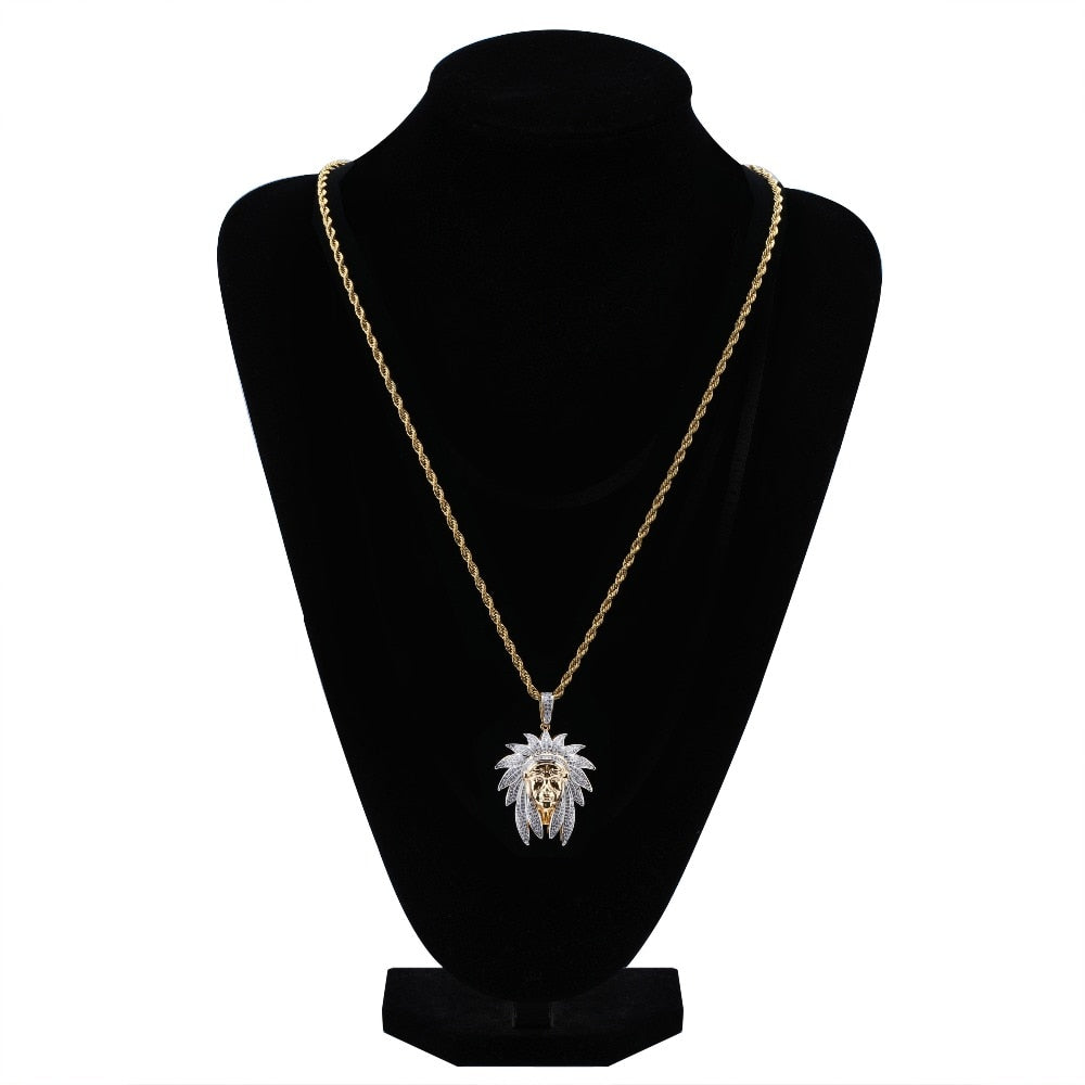 18k GP Iced Out Cubic Zircon Chieftain Necklace JSN - Simply IcedOut