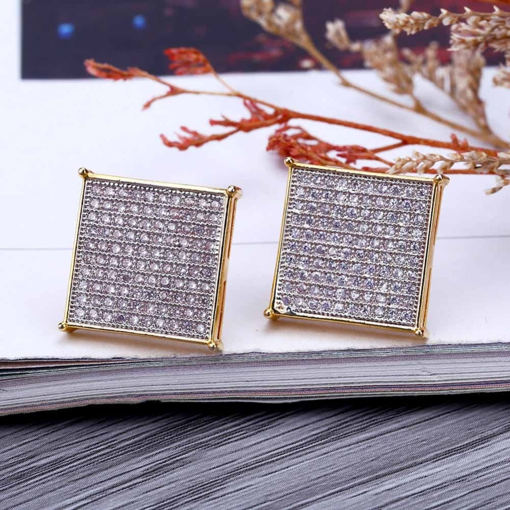 18k GP Iced Out Micro Pave Cubic Zircon Lab D Stud Earrings JSN - Simply IcedOut