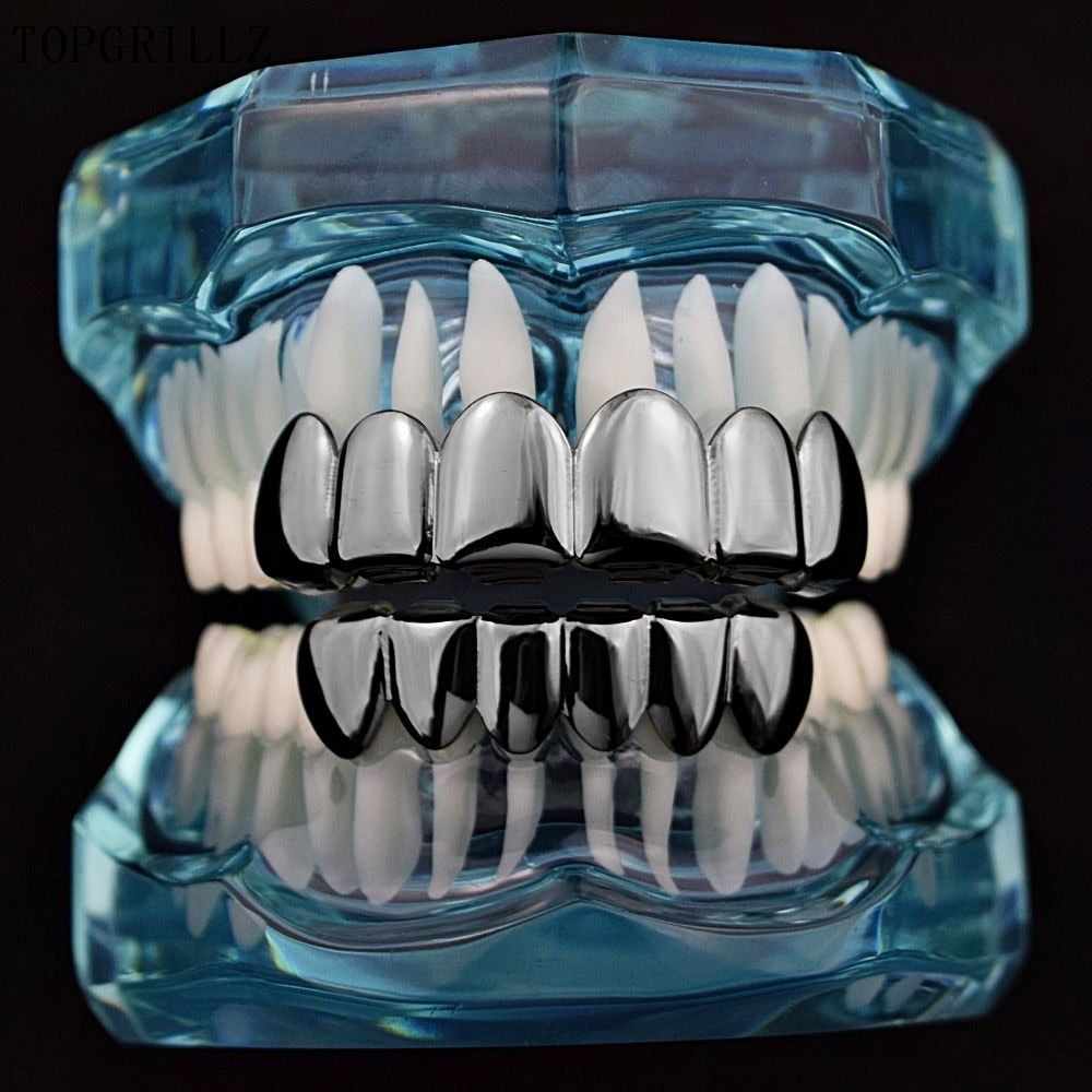 18k GP Teeth Grillz Top & Bottom Grills Set With silicone FREE included! - Simply IcedOut
