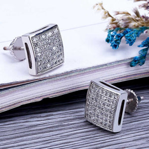 18k GP Iced Out Micro Pave CZ Stone Square Earring Lab D JSN - Simply IcedOut
