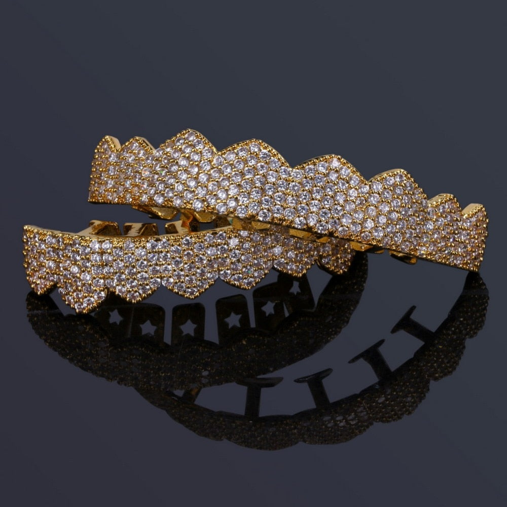 18k GP Iced Out Micro Pave Cubic Zircon Teeth Grillz JSN - Simply IcedOut