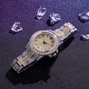 18k GP 2019 Baguette Watch Quartz Iced Out JSN ( For Men & Women) - Simply IcedOut