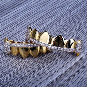 18k GP Micro Pave Cubic Zircon Grillz  JSN ( IN DEMAND) - Simply IcedOut