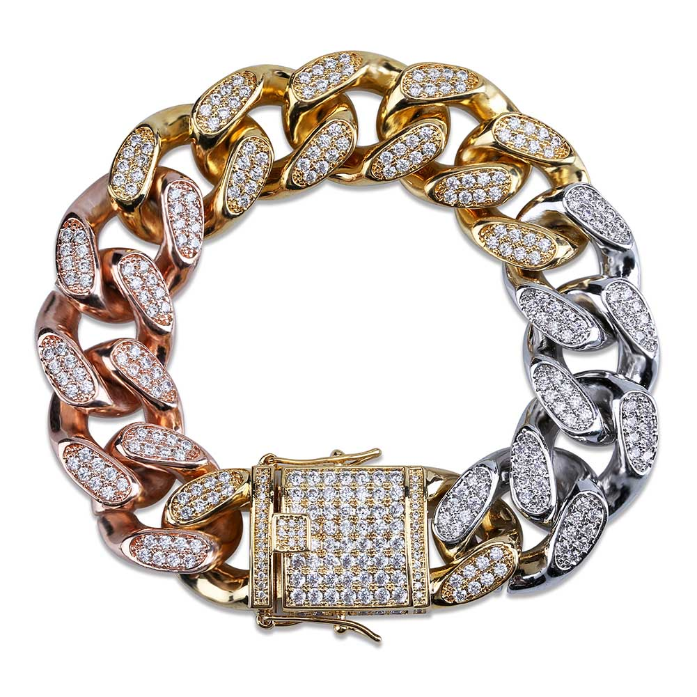 18k GP 18MM Iced Out Cuban Link Bracelets JSN - Simply IcedOut