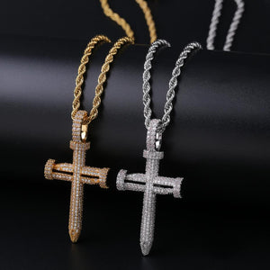 18k GP Iced Out Holy Grail Nail Cross Necklace JSN - Simply IcedOut