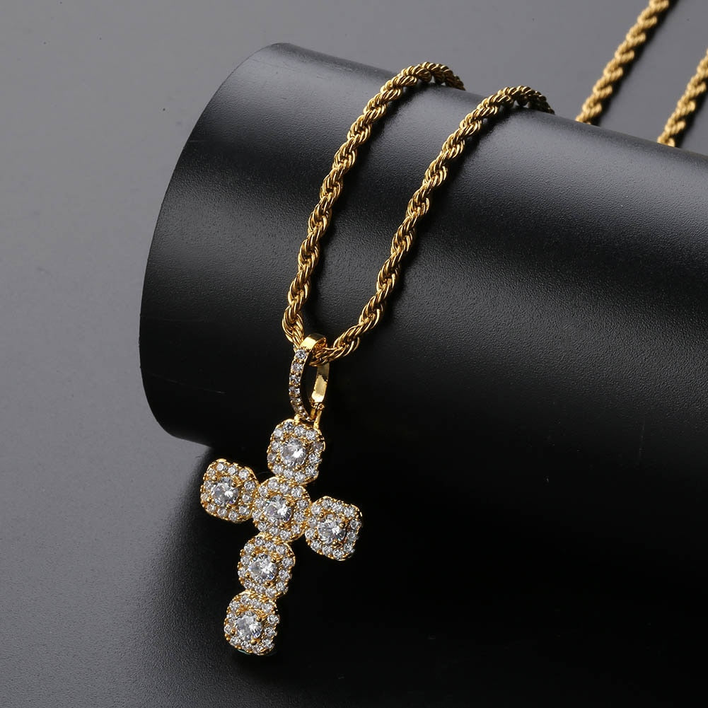 18k GP CZ Stone Studded Holy Cross Necklace JSN (For Men & Women) - Simply IcedOut