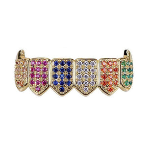 18k GP Multi-Color Micro Pave CZ Vampire Fangs Grillz JSN - Simply IcedOut