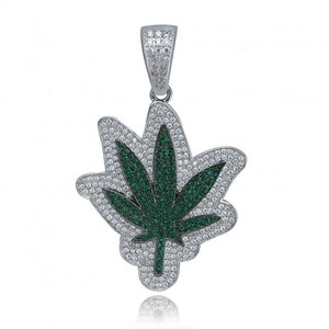 18k GP Iced Out CZ Stone Cannabis Necklace JSN - Simply IcedOut