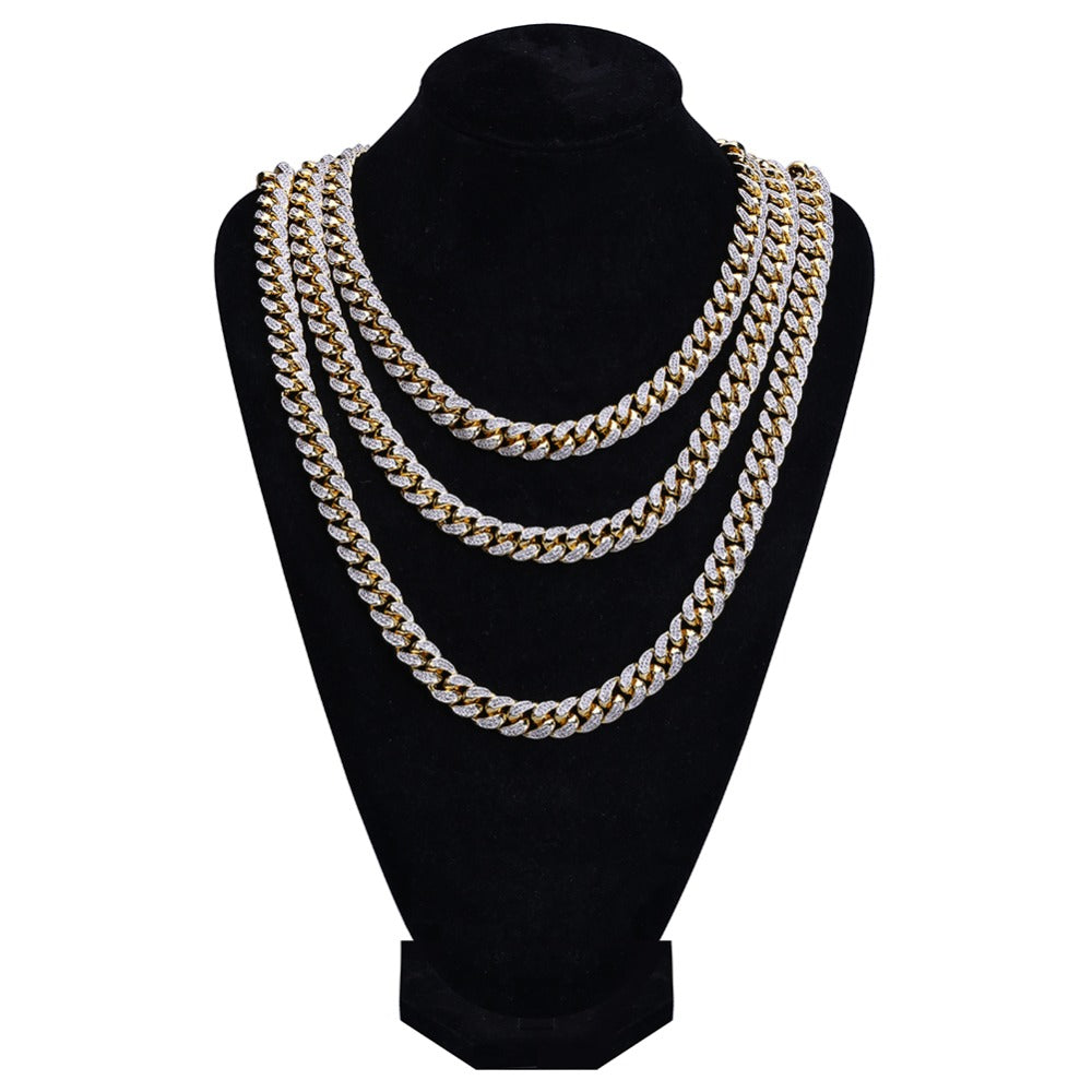 18k GP 14mm Cubic Zircon Miami Cuban Link Chain Necklace JSN - Simply IcedOut