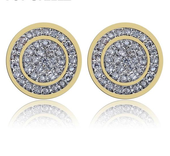 18k GP  Iced Out Cubic Zircon Round Stud Earrings JSN - Simply IcedOut