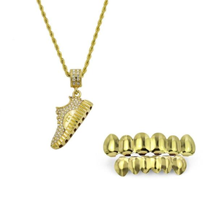 18k GP Iced Out Grillz & Sport Shoes Necklace Set JSN - Simply IcedOut