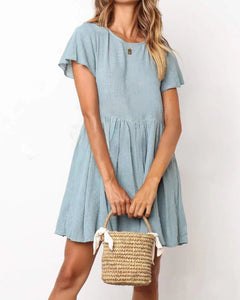 80f06b33563 Round Neck Plain Short Sleeve Loose Pleated Casual Dresses
