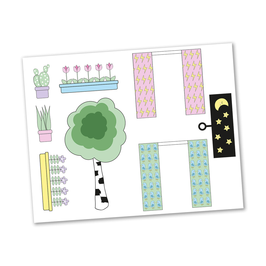 Creative Sticker Sheet - Curtains and Flowers