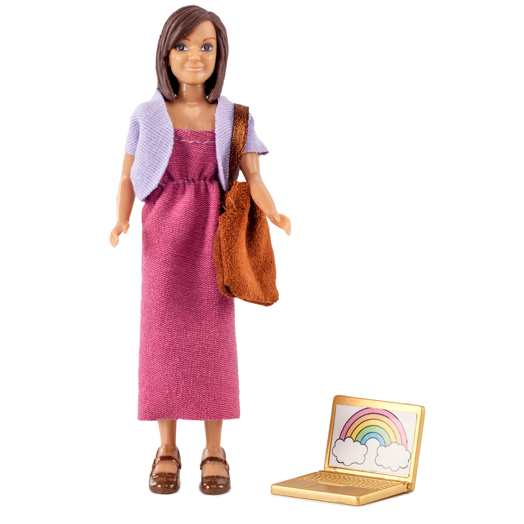 Woman Doll & Laptop & Bag