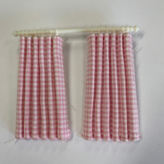 Lundby - Curtains - Pink Gingham