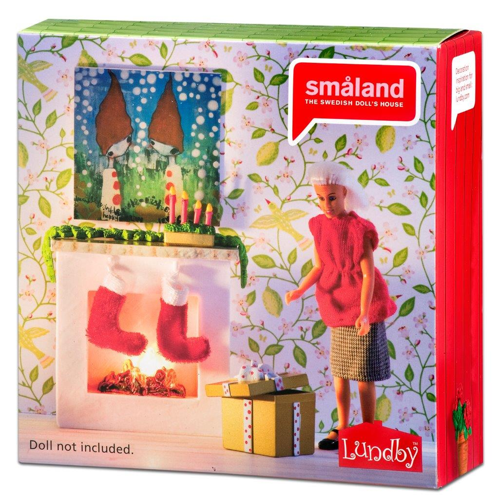 Småland Fireplace Set with Christmas Stockings
