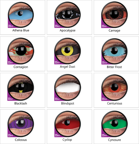ColourVue Crazy 6 months 22mm Sclera Lens Colour Chart