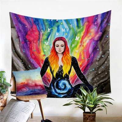 Tenture Hippie Meditation by Pixie Cold Art - 130 x 150cm