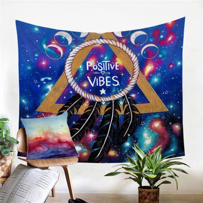 Tenture Hippie Positive Vibes Moon by Pixie Cold Art - 130 x 150cm