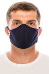 Face Mask, 100% Cotton, 2 layers, Navy, Washable, Reusable Mask, Adult Size