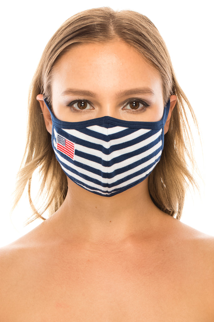unik Face Mask, cotton blend, 2 layers, Blue Stripe with Embroidered US Flag, Washable, Reusable Mask, Adult Size