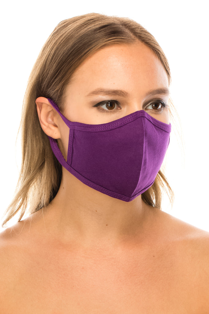 unik Purple Face Mask, Cotton, 2 layers, Washable, Reusable Mask, Adult Size
