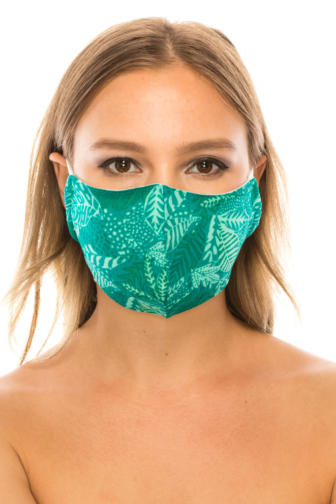 unik Face Mask,  Cotton Blend, 2 layers, Green Leaf, Washable, Reusable Mask, Adult Size